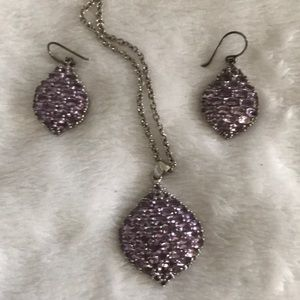 Jewelry - Genuine Amethyst Pendant and Earring Set